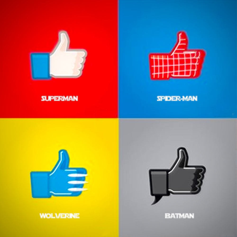 Vamers - Artistry - Superhero Like Facebook Style - Superman - Batman - Wolverine - Spider-Man - Full